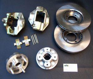 Bremsumrüstungssatz auf innenbelüftete Bremsscheiben für Vorderachse